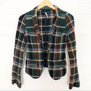 Free People • Plaid Wool Blazer Size 10